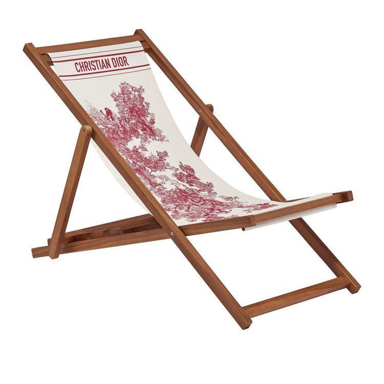 Dioriviera莓果紅翻轉法式印花摺疊躺椅。圖/DIOR提供