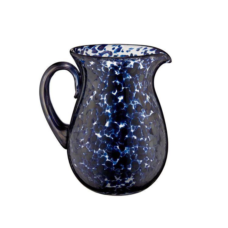 藍色豹紋玻璃水壺。圖/DIOR提供