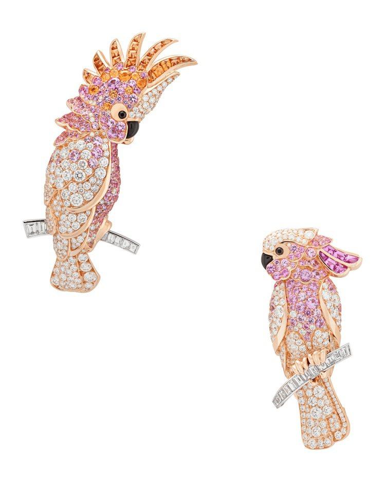 Cacatoes胸針,玫瑰金與白K金鑲嵌粉紅色剛玉、錳鋁榴石、鑽石,價格店洽。圖...