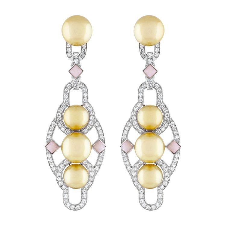 Bora Bora耳環,白K金鑲嵌粉色蛋白石、金色養殖珍珠、鑽石,價格店洽。圖/...