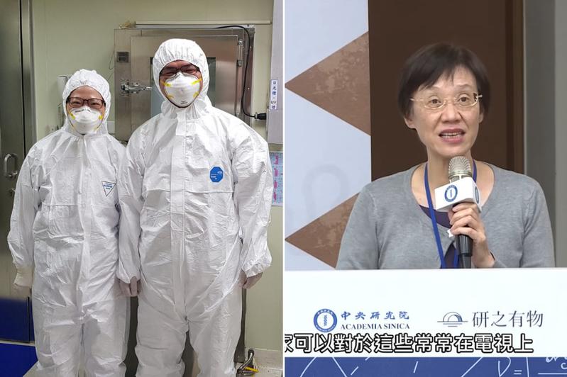 左圖,著實驗衣P3 實驗室的工作人員,右圖則是帶領我們開箱實驗室的林宜玲研究員(組圖/研之有物)