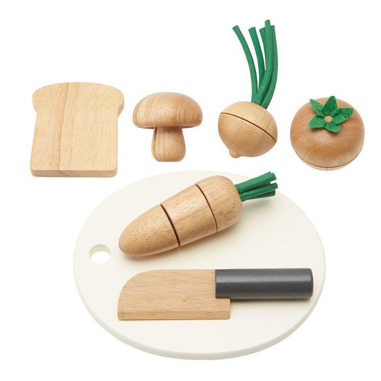 無印良品木製扮家家酒玩具組(食材砧板)/1,090元。圖/MUJI無印良品提供