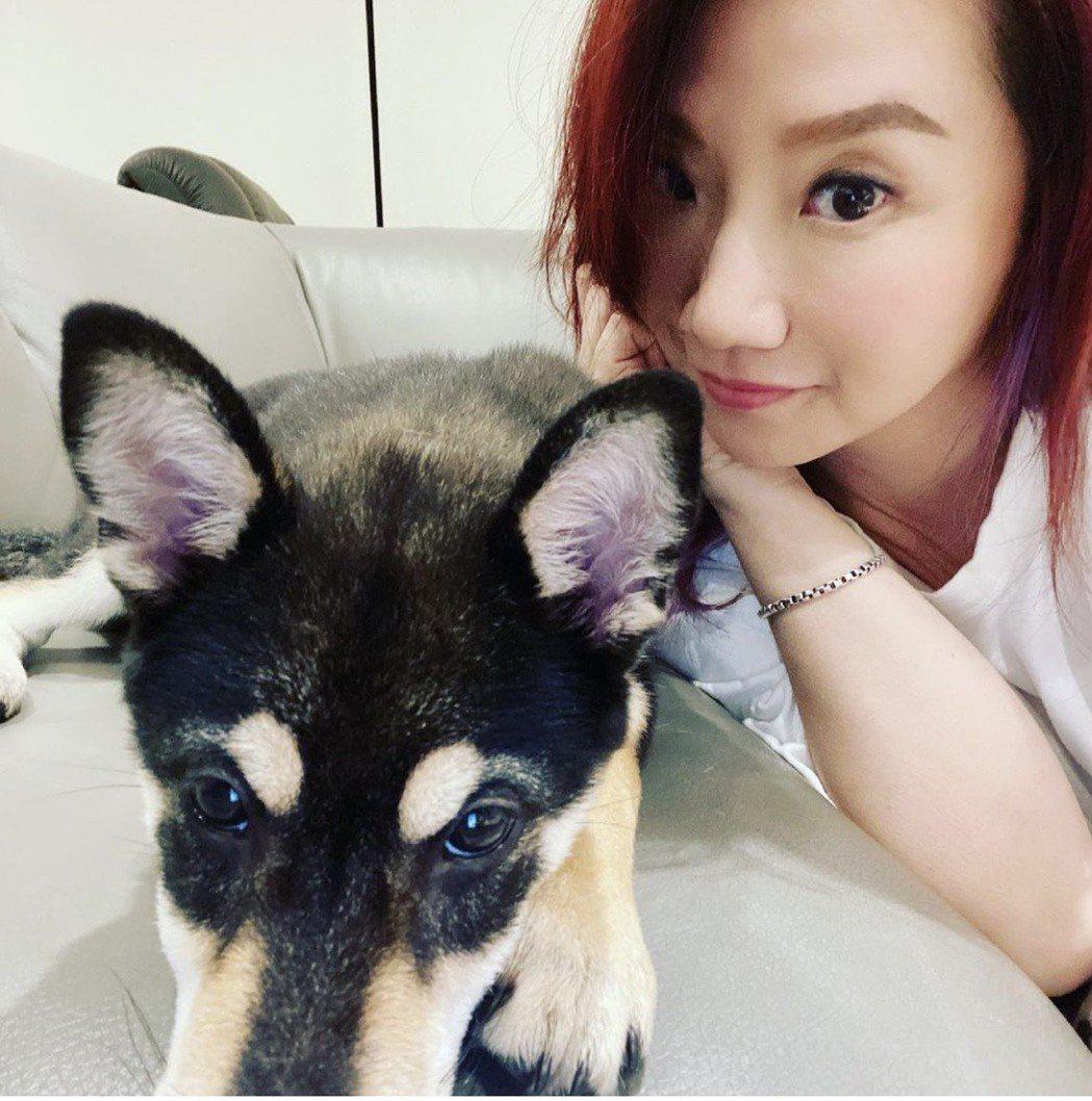 陶子和黑柴犬偶膩(韓文姐姐的意思)。圖/陶子提供