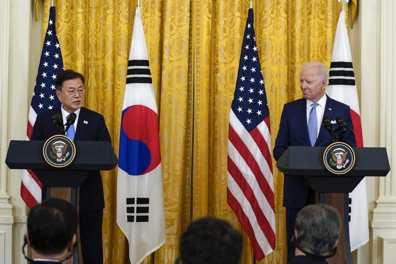 南韓總統文在寅和美國總統拜登在峰會聲明中提及台灣,但對大陸卻語帶保留。美聯社