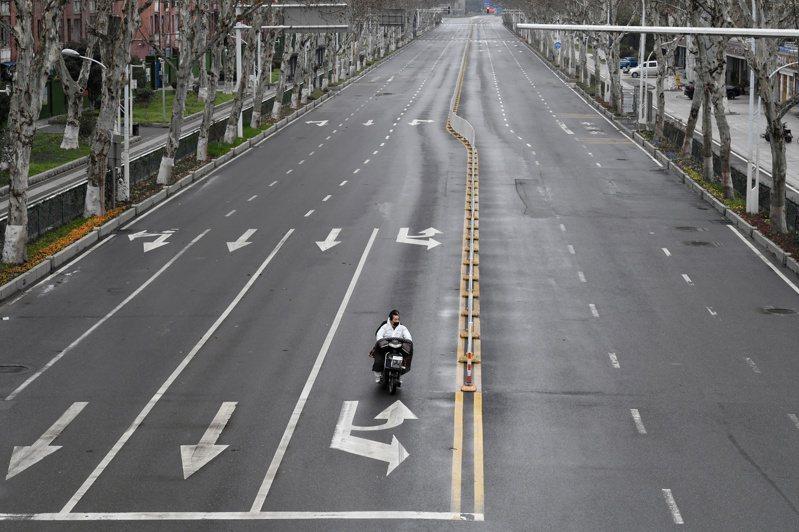 圖為去年3月3日的武漢市街景。路透