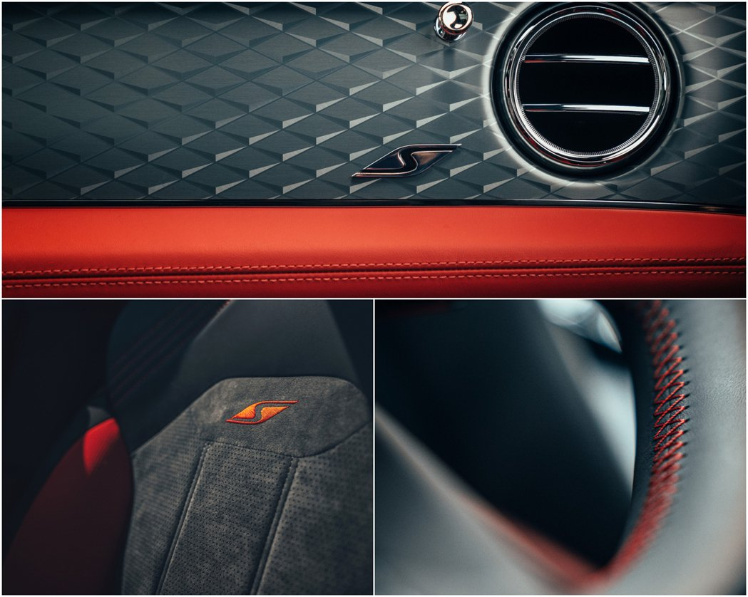 以麂皮、紅色縫線和黑色元素做搭配。 摘自Bentley
