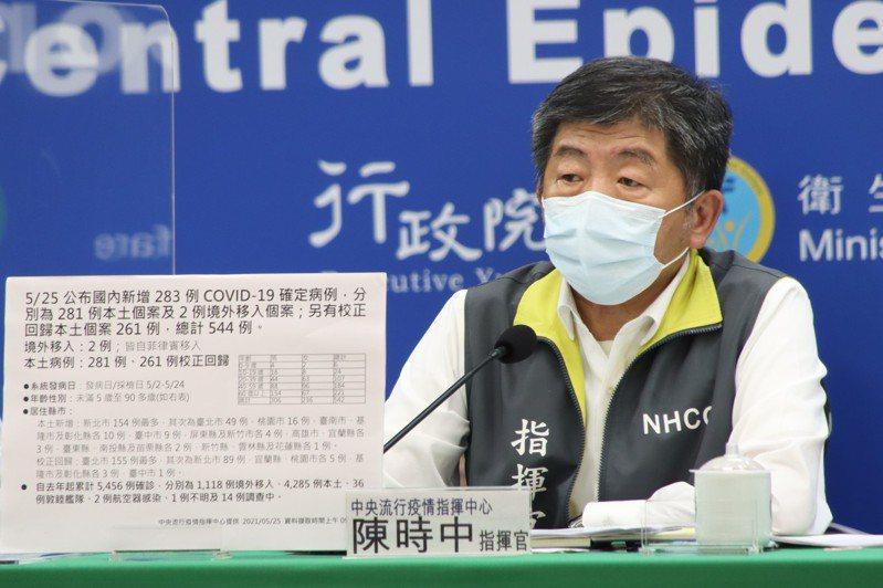 疫情指揮中心指揮官陳時中在今天疫情記者會表示,接種高峰要視疫苗供應狀況而定,但要隨時做好準備,近日會公布詳細計畫,大致是依照冷鏈方式區分。圖/中央流行疫情指揮中心提供