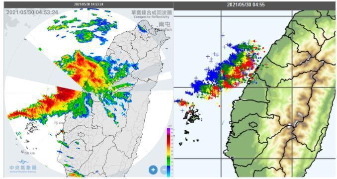 今晨雷達資料顯示,台灣海峽有線狀回波,正在接近台灣中部(左圖);閃電偵測資料顯示,伴隨密集閃電(右圖)。圖/取自「三立準氣象.老大洩天機」專欄