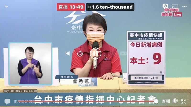 台中市長盧秀燕宣布,中市傳統市場採身分證號碼分流運動。圖/取自臉書