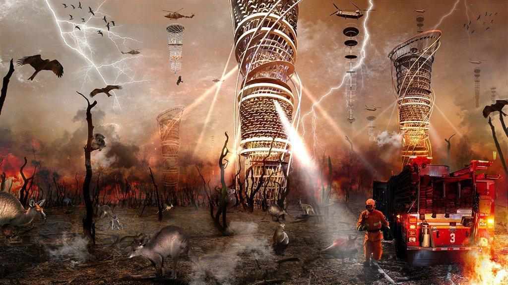 台科大建築所學生賴翰宇設計「垂直防火生態塔」,打造一個動物可在森林大火發生時的避...