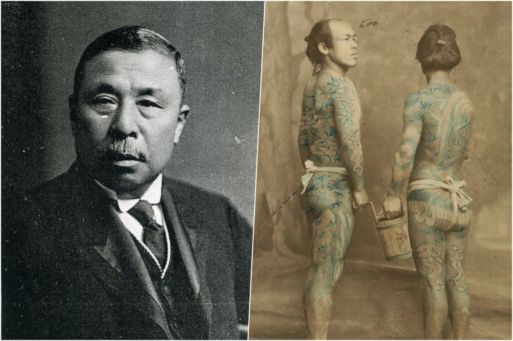 圖/維基共享:圖左為「刺青大臣」小泉又次郎,圖右為1870年(明治3年)記錄下的...