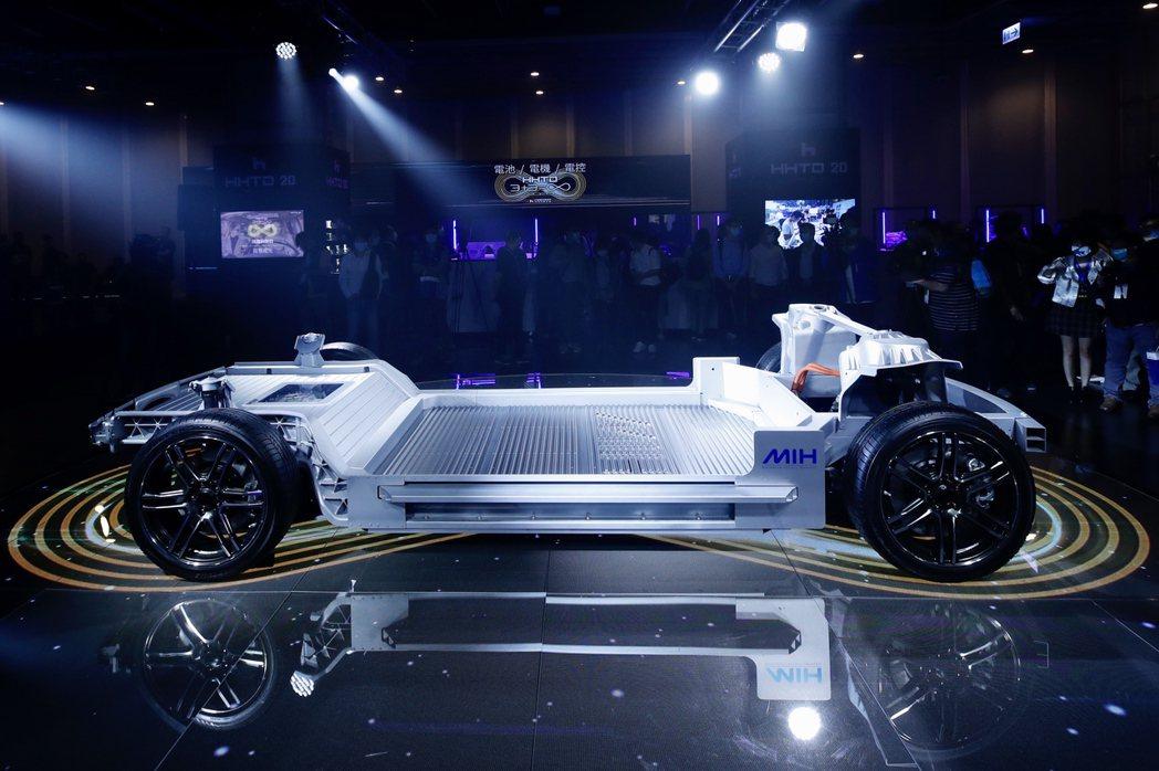 圖為鴻海電動車開放平台MIH展示電動車雛形。( 歐新社)