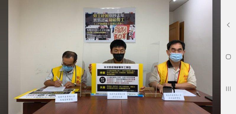 工鬥團體上午舉行線上記者會,以「勞工紓困別抄去年,實質認定發給勞工」為口號,提出三大訴求。記者陳宛茜/翻攝