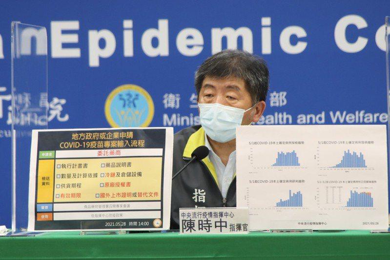 中央疫情指揮中心指揮官陳時中大談疫苗數量、何時到港,就是不談疫苗的價格差異。圖/指揮中心提供