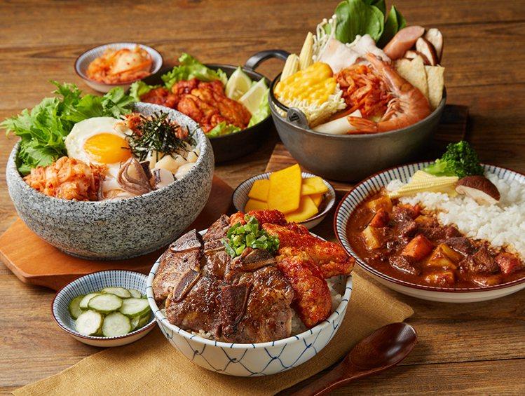 「肉次方」推出全集團唯一韓式餐點,包含雙拼燒肉餐盒、韓式鍋物、石鍋拌飯等選擇。圖...