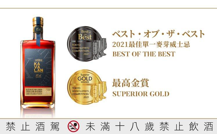 噶瑪蘭十周年紀念酒SKY GOLD葡萄酒桶威士忌,除於本屆TWSC第一階段榮獲「...