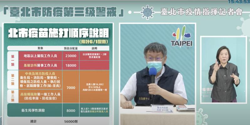 台北市長柯文哲表示,明天配發的5.6萬疫苗,主要提供給第一至三類、基層診所人員施打。圖/截自柯文哲YouTube