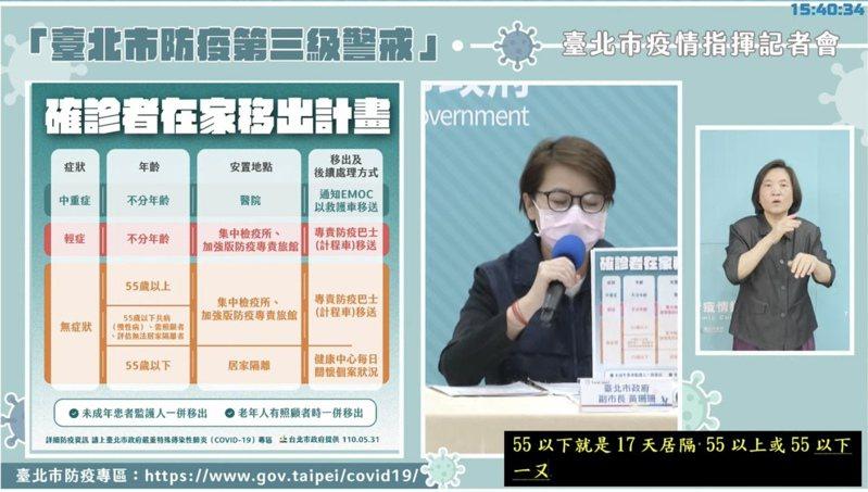 台北市副市長黃珊珊今說明確診者在家移出安置計劃。圖/摘自柯文哲臉書