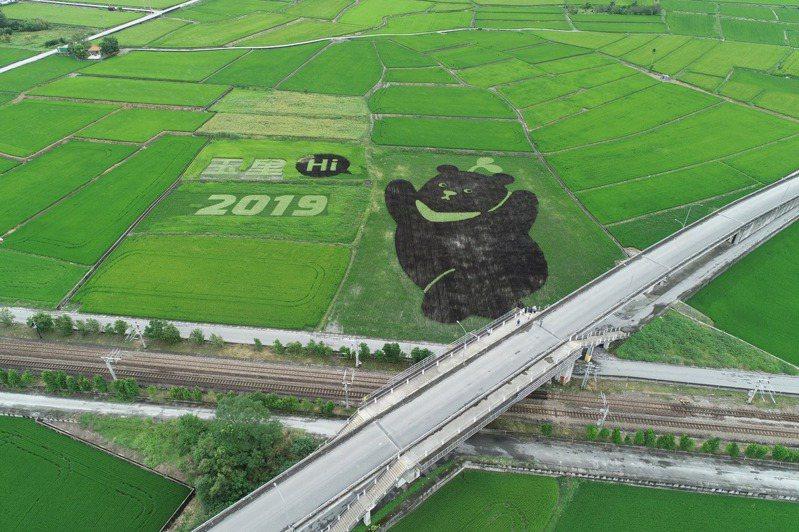 元沛農坊團隊曾遠赴花蓮玉里,與台灣黑熊保育協會合作在黑熊的故鄉打造「黑熊田」,他們使用花蓮23號米「彩繪」出台灣黑熊在田間跳躍的模樣。圖/許又仁提供