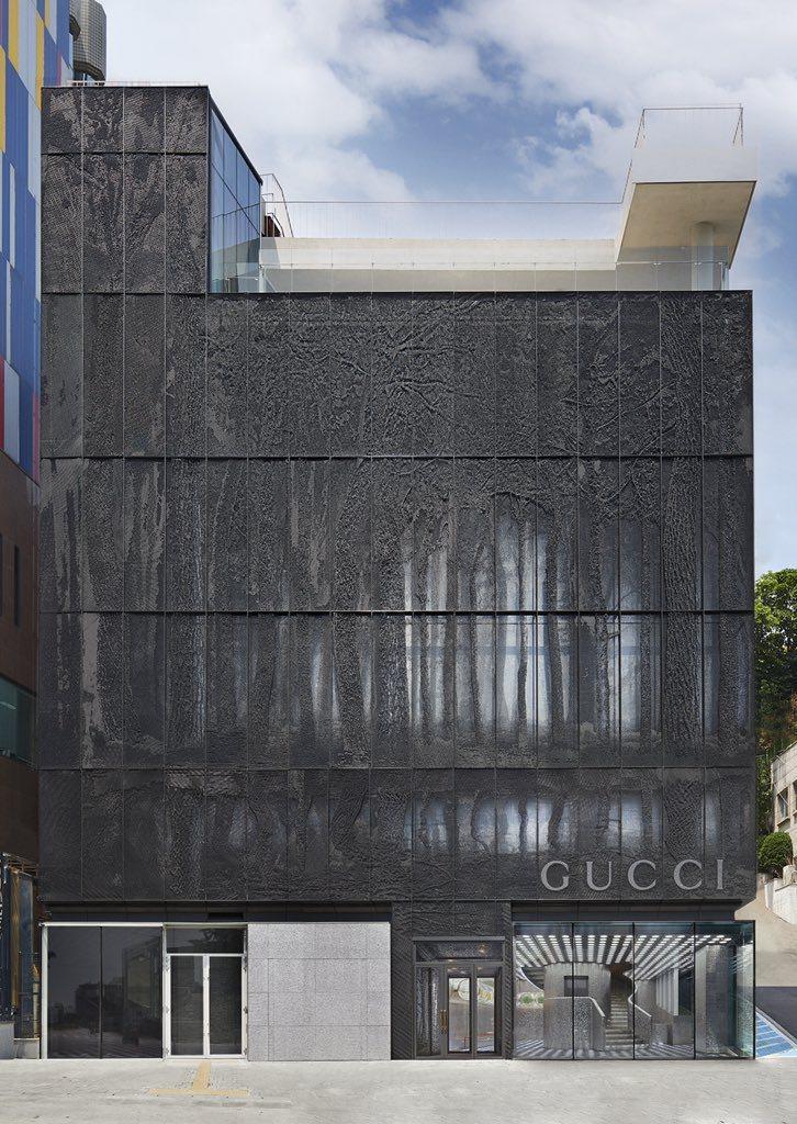 位於首爾梨泰院的GUCCIGAOK旗艦店,外牆裝飾由韓國藝術家Park Seun...