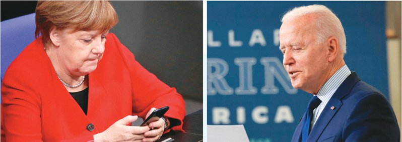 丹麥媒體報導,美國在二○一二至一四年曾利用丹麥海底電纜竊聽德國總統梅克爾(左)等歐洲政要,美國吹哨者史諾登說,時任副總統的美國現任總統拜登(右)對此事介入甚深。(路透)
