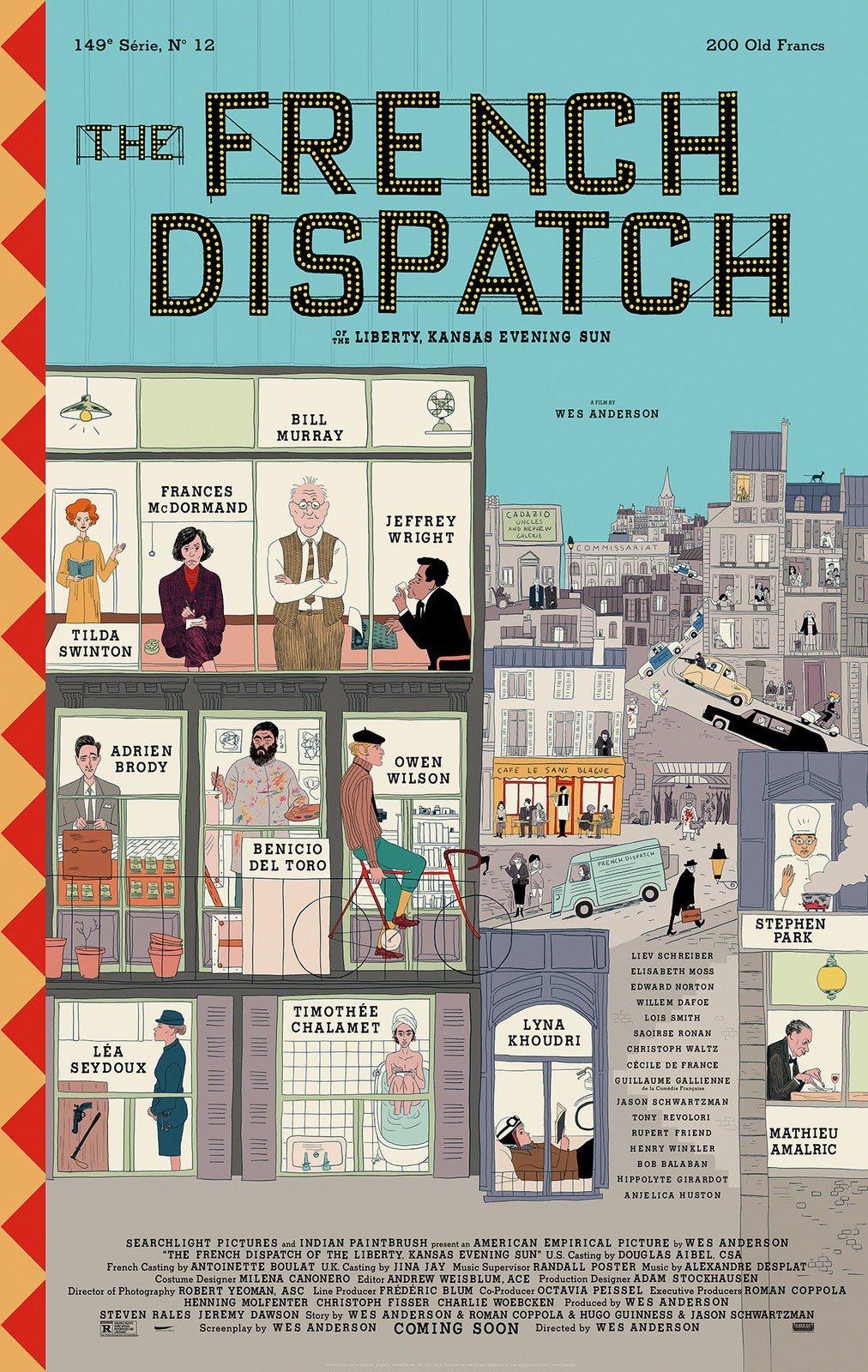 魏斯安德森的《The French Dispatch》是熱愛法國文化的魏斯安德森...