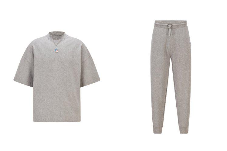 (左)BOSS X Russell Athletic灰色有機棉運動褲/5,700...