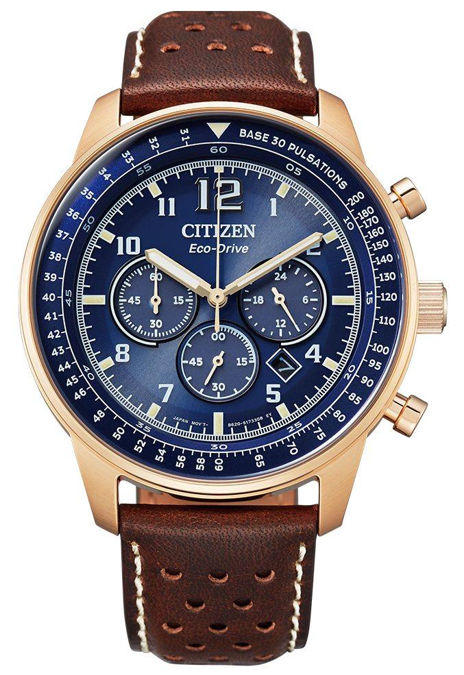 CITIZN CA4503-18L腕表,鍍玫瑰金不鏽鋼表殼、搭配皮革表帶11,9...