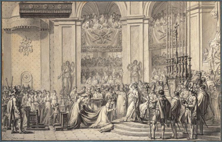 雅克路易大衛(Jacques-Louis David)的加冕盛典草圖,是為現藏於...