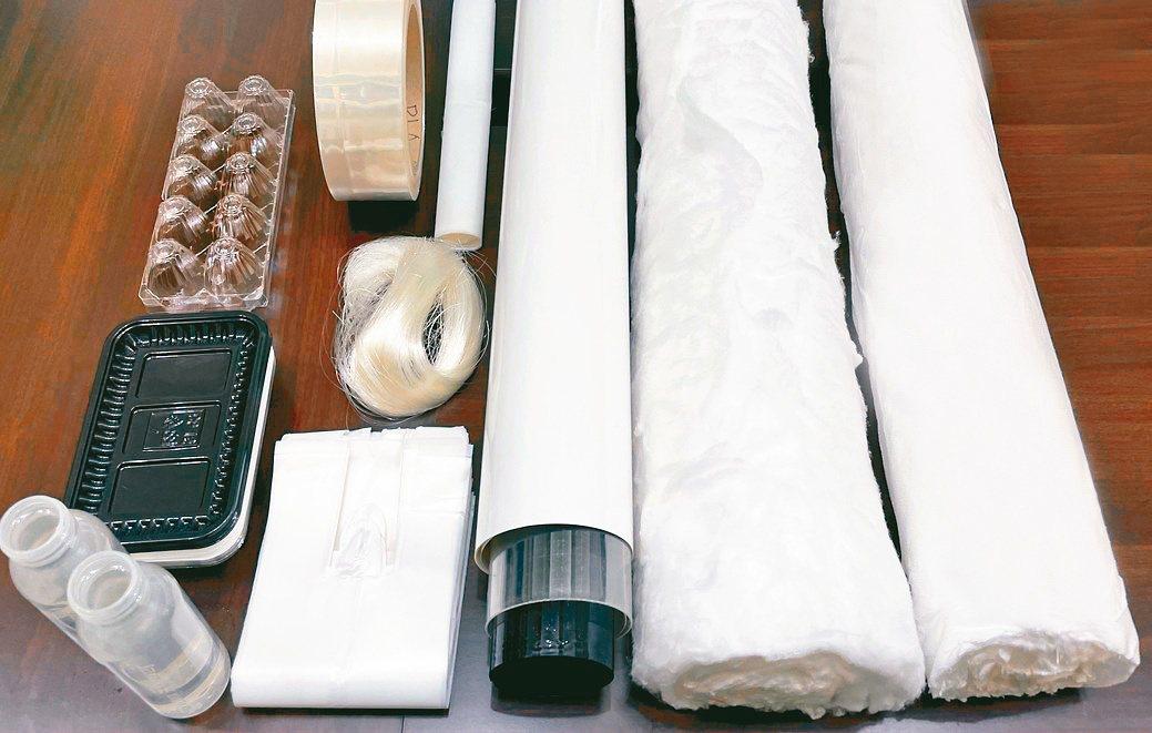 PLA生物可分解蛋盒(左起)、生鮮托盤、包裝瓶、PLA生物可分解熱縮膜、吹膜、抽...
