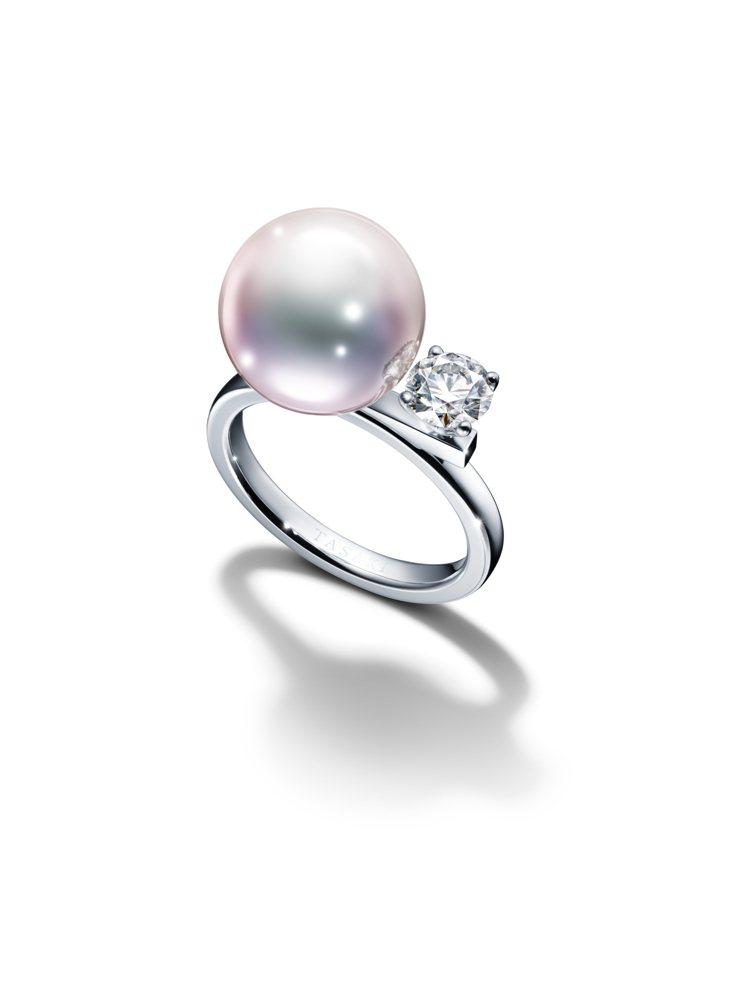 TASAKI balance class鑽石珍珠白K金戒指,46萬元。圖/TAS...