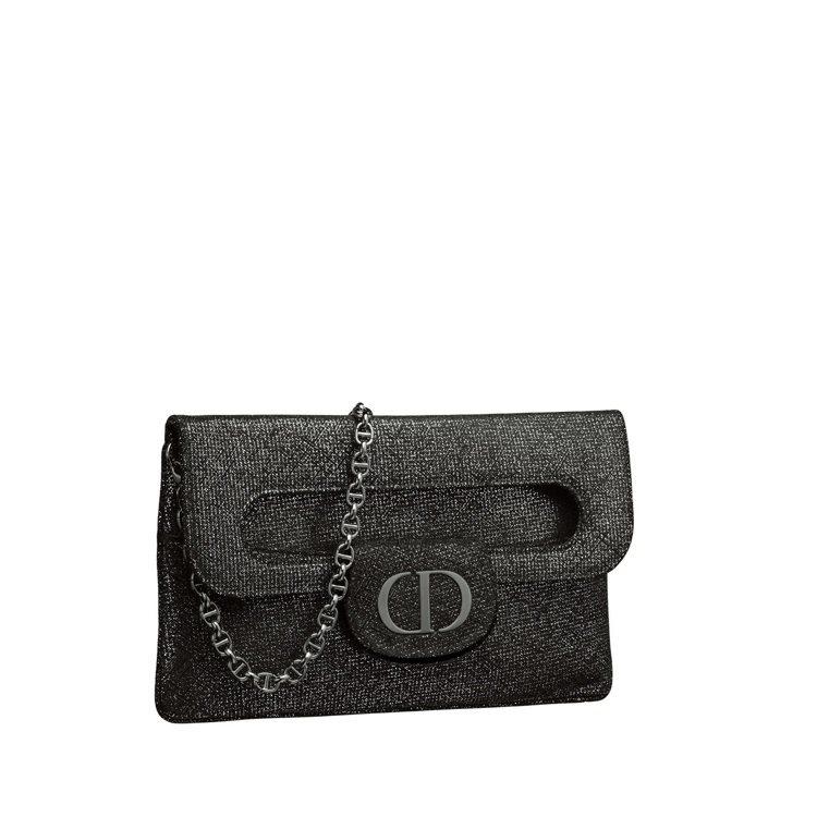 DiorDouble鐵灰色金屬紗線紋小牛皮中型鍊帶手拿包,11萬元。圖/DIOR...