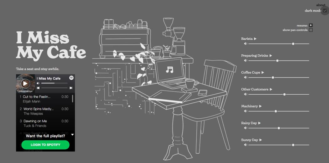 造訪「I Miss My Cafe」網站,播放著沖煮咖啡廳與顧客交談白噪音,彷彿...