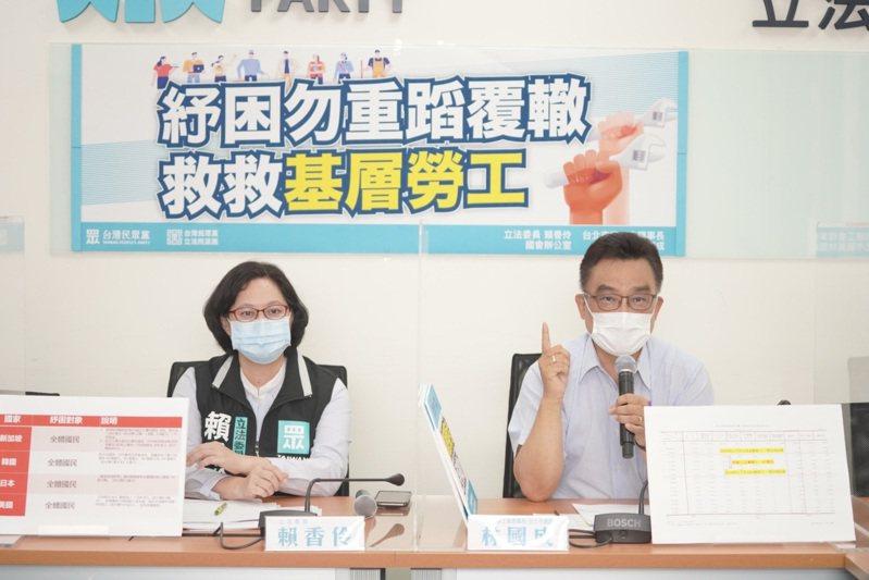 民眾黨立委賴香伶(左)今與台北市總工會理事長、台北市議員林國成(右)舉行線上記者會。圖/民眾黨提供