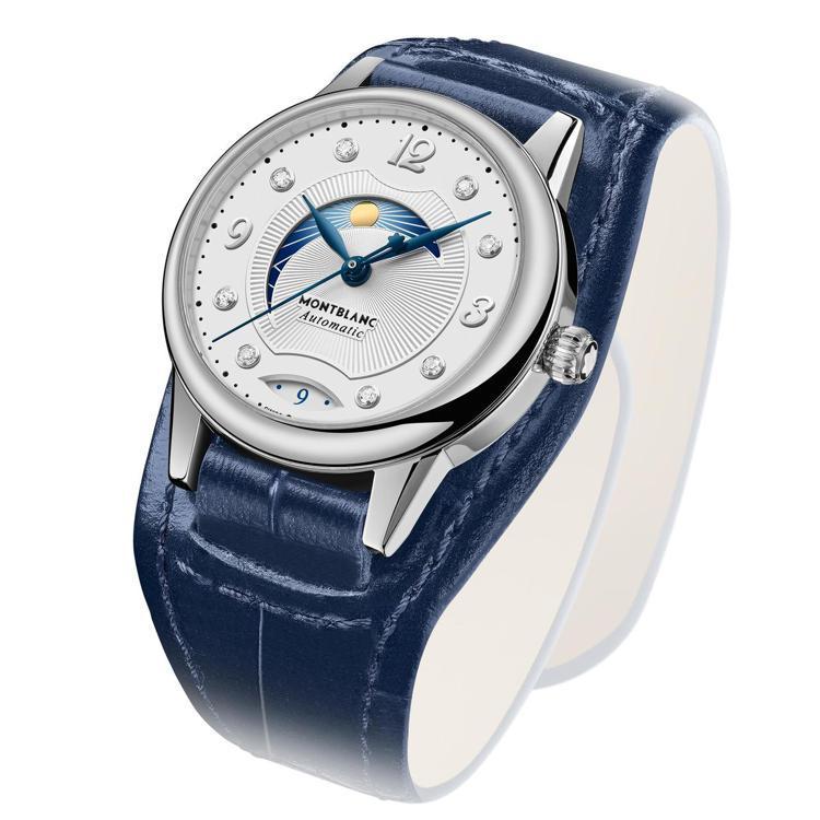 萬寶龍,寶曦系列日夜腕表,30毫米,搭配寬版藍色小牛皮表帶,11萬7,300元。...