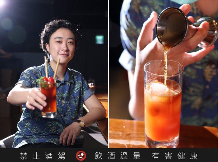 來自「溫柔鄉」的調酒師張君怡,把黑啤酒用童心巧妙翻轉。記者王聰賢 / 攝影。提醒...
