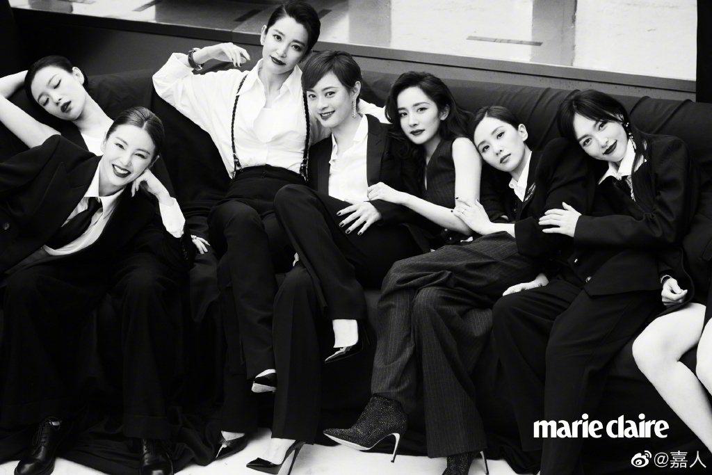 張雨綺(左起)、倪妮、李冰冰、孫儷、楊冪、劉詩詩、唐嫣。 圖/擷自微博