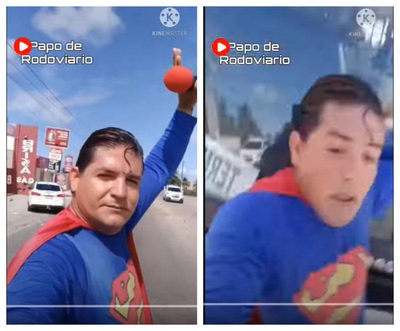 巴西喜劇男星安卓德(Luiz Ribeiro de Andrade)近日扮成超人,異想天開徒手擋公車,卻慘被公車狠狠撞擊。圖擷自YouTube
