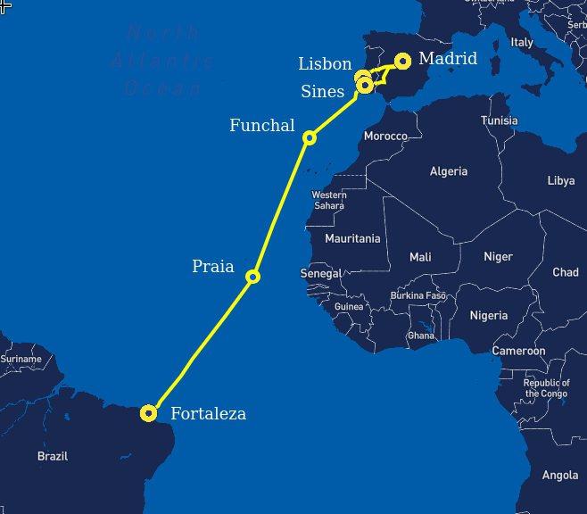 連接巴西和葡萄牙,亦為第一條直連拉丁美洲和歐洲的EllaLink光纖海底電纜昨天開通,這條6000多公里的電纜將支援5G網路數據流量結構,加速南美和歐洲之間的資訊直接交流。擷自維基百科