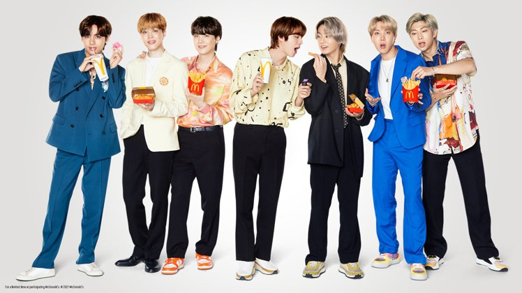 麥當勞攜手BTS防彈少年團,推出聯名套餐與一系列週邊商品。圖/麥當勞提供