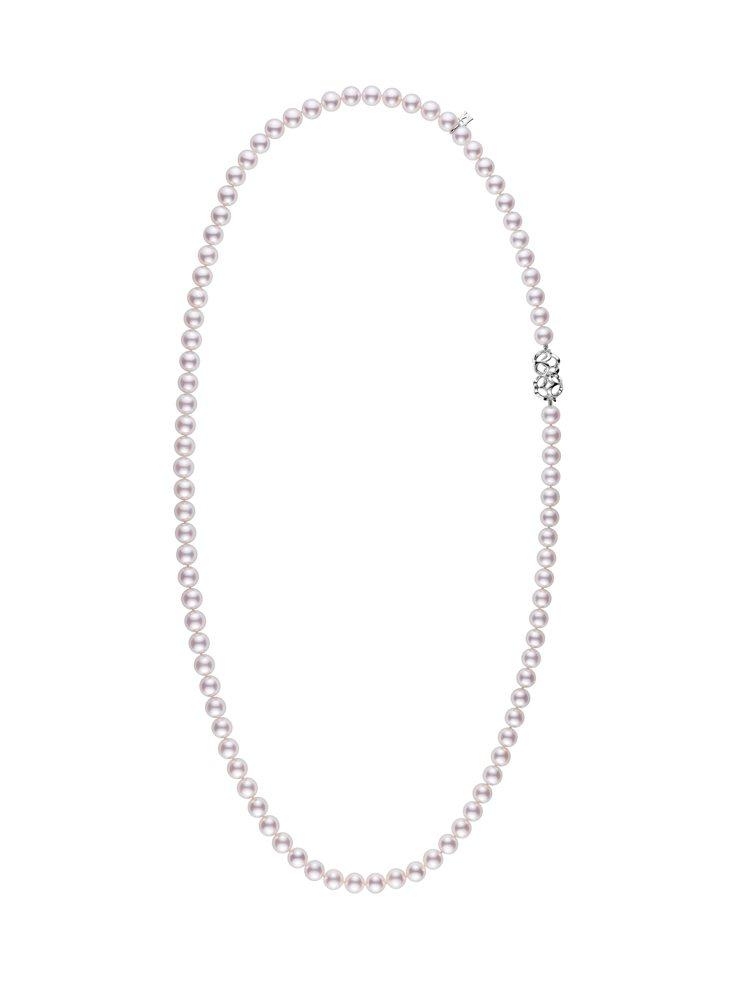 迪麗熱巴配戴款MIKIMOTO Double Eight系列珍珠串鍊,18K白金...