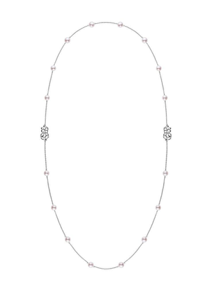 MIKIMOTO Double Eight系列珍珠鍊結項鍊,18K白金,8.00...