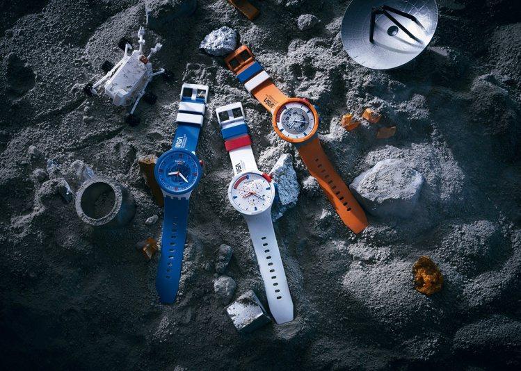 SWATCH推出NASA主題的新表款,這也是生物陶瓷材料,首度使用於計時碼表。圖...