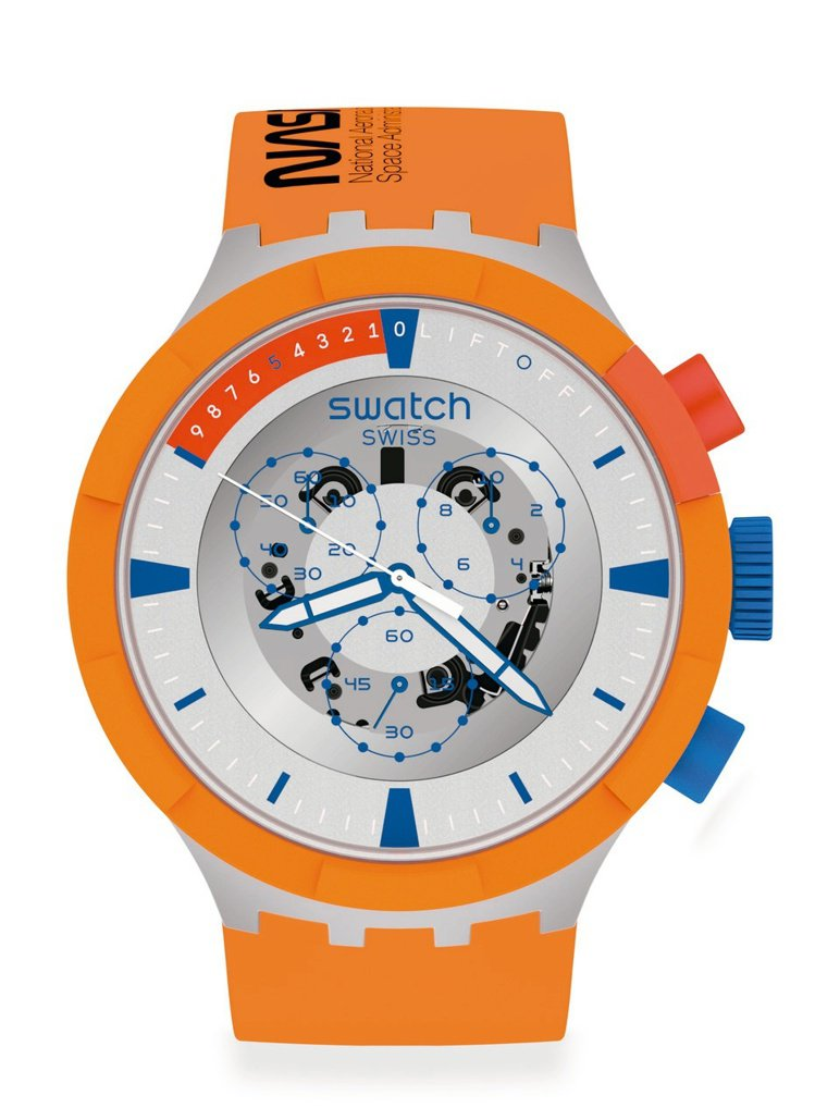 SWATCH太空系列LAUNCH橘色風暴SB04Z401腕表,生物陶瓷表殼5,3...