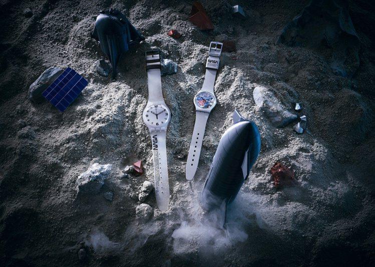 SWATCH以品牌曾經替太空人打造的表款為發想,推出太空主題新表款。圖/SWAT...
