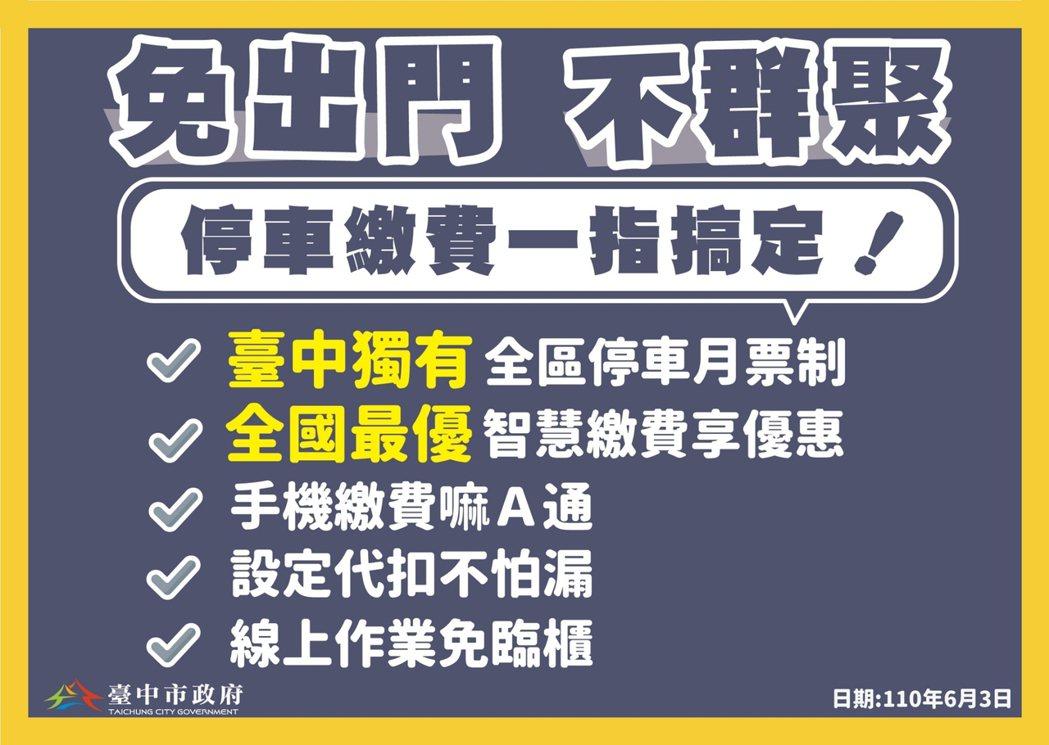 台中市長盧秀燕今天在疫情記者會宣布,疫情期間祭出「防疫停車措施」鼓勵大家線上繳費...