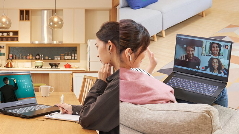 因應COVID-19催生的遠端辦公、線上學習,帶動一波PC換筆電熱潮。圖/技嘉提供