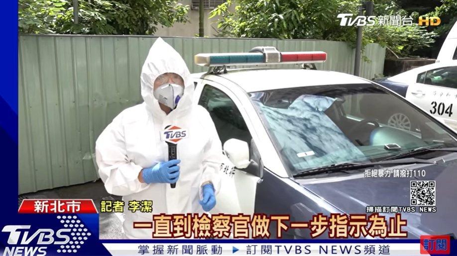 TVBS記者李潔全身穿著隔離衣採訪。圖/TVBS提供