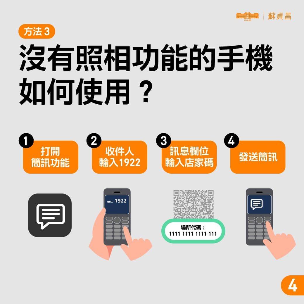 如果使用沒有照相功能、非智慧型手機,也可以手動傳簡訊完成實聯制。 圖/摘自行政院...