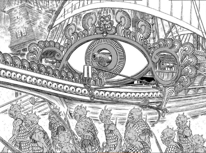 不只是庫翔軍的戰船細節滿滿,底下的獸鬼也是體貌各異,畫工講究可見一斑